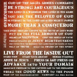 Warrior Manifesto Wall Art in red 16 x 20 art