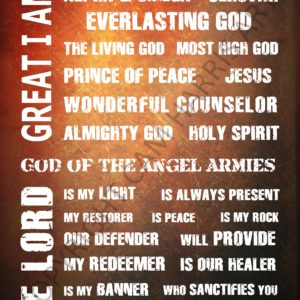 Names of God Wall Art Red