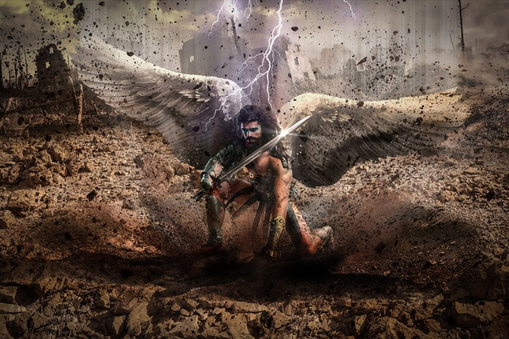 warrior angel fights the demonic with us